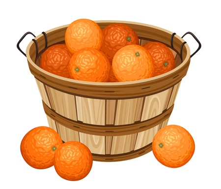 Wooden basket with oranges.