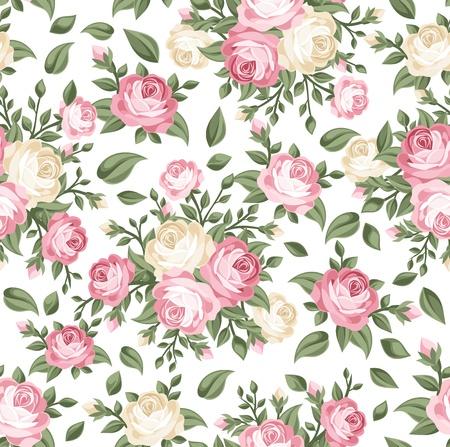 róża: Jednolite wzór z róż różowe i biaÅ'e.