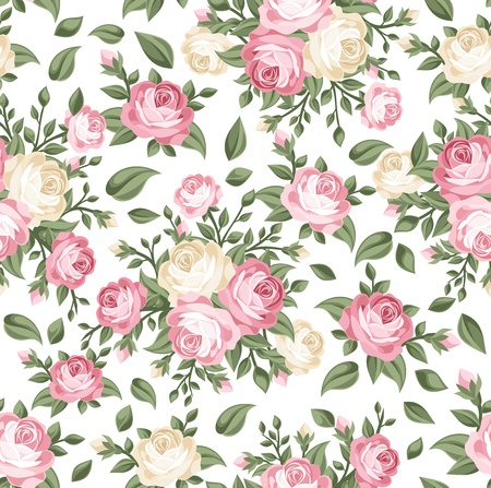 rose bud: Seamless pattern with pink and white roses.