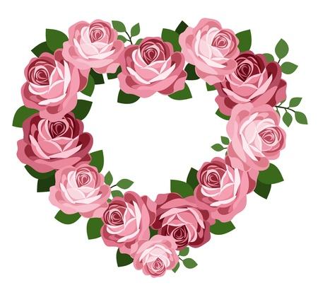 rose frame: Pink roses heart frame. Illustration