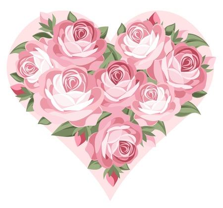 Corazón de rosas de color rosa.