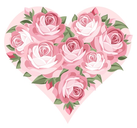 Heart of pink roses.  Illustration