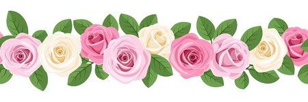 horizontal seamless background with pink and white roses. Stock Vector - 18289015