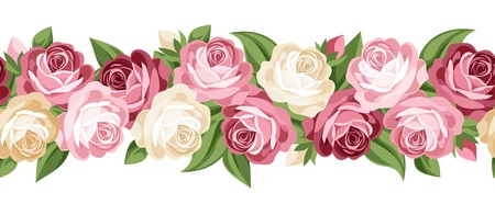 Horizontal seamless background with roses.  Vector