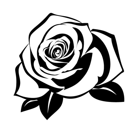 blooms: Black silhouette of rose with leaves.  Illustration