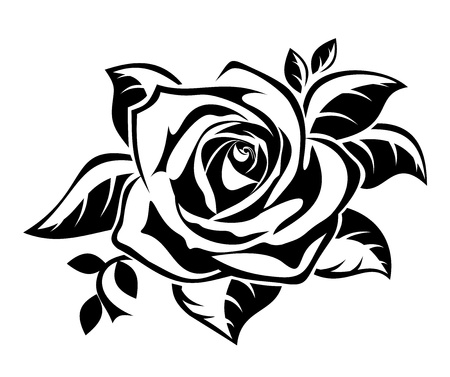 stencil art: Black silhouette of rose with leaves.