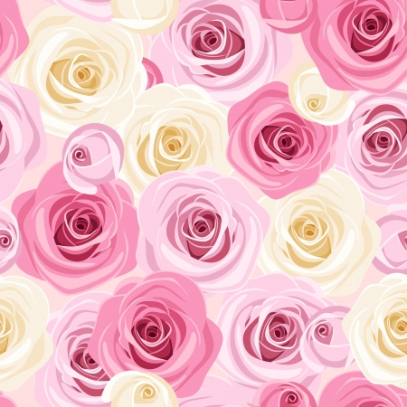 Seamless background with pink and white roses. Vector