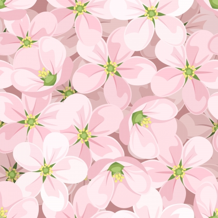 soft textile: Seamless background with apple blossoms. Illustration