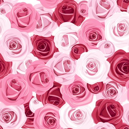pink roses: Seamless background with colored roses.