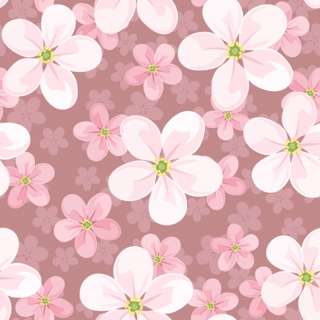 cherry pattern: Seamless background with cherry blossoms.