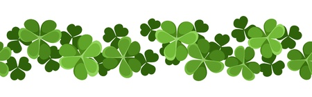 patrick s: St  Patrick s day vector horizontal seamless background with shamrock