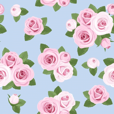 Seamless background with pink roses on blue. Vector
