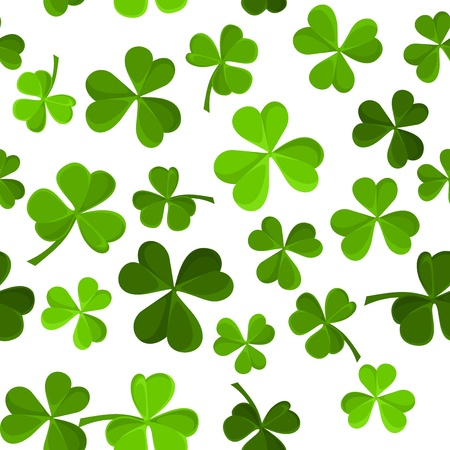 St  Patrick s day vector seamless background with shamrock   Ilustração