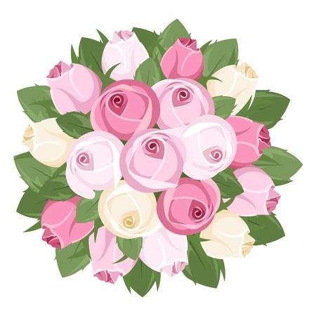 Boeket van roze en witte roos knoppen. Vector illustratie.