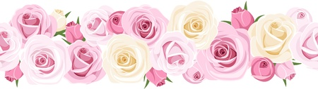 Horizontal seamless background with roses   Vector