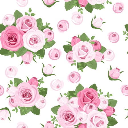 english rose: Seamless background with pink roses on white   Illustration