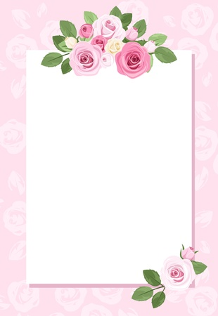 pink rose petals: Background with paper and roses