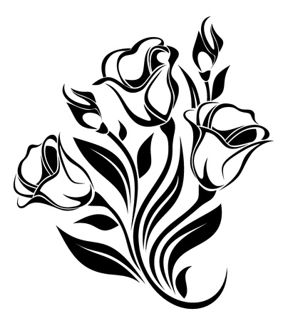 stencil: Black silhouette of flowers ornament  Vector illustration
