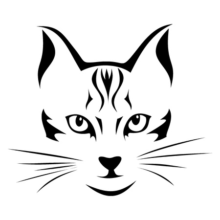 cat eye: Black silhouette of cat  Vector illustration