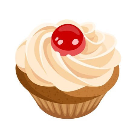vanilla cupcake: Cupcake with cream and cherry  Vector illustration