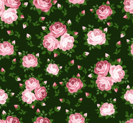 Seamless pattern with pink roses on green  Vector illustration