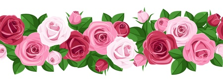 Horizontal seamless background with roses.  illustration. Vector