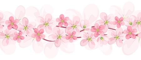 Horizontal seamless background with pink flowers. Vector EPS-10. Vector