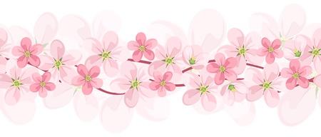 slingers: Horizontale naadloze achtergrond met roze bloemen. Vector EPS-10.