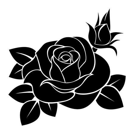 장미의 검은 실루엣. 그림. 일러스트