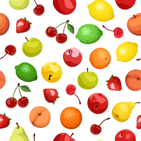 Seamless background with various fruits.  illustration. Vector