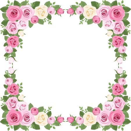 rosas rosadas: Rosas Vintage frame. ilustraci�n. Vectores