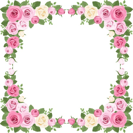 pink rose petals: Vintage roses frame.  illustration.