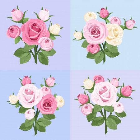 Set of four roses branches. Vector illustration. Vector