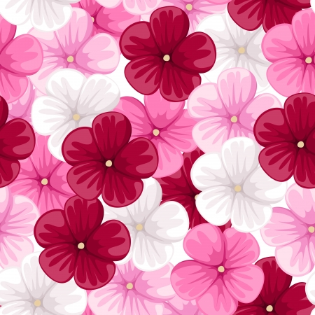 beautiful red hibiscus flower: Seamless background with mallow flowers.  illustration.