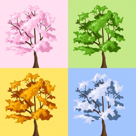 cuatro elementos: Cuatro árboles de temporada. ilustración.