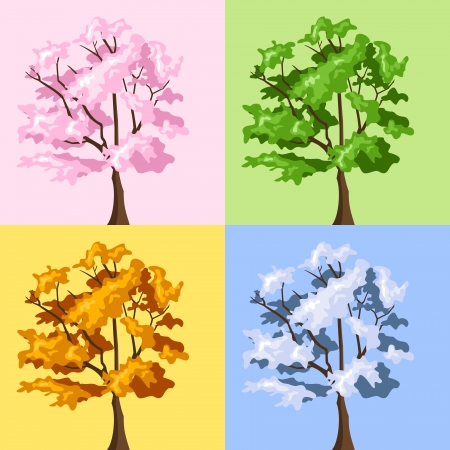 Four season trees.  illustration. Illustration