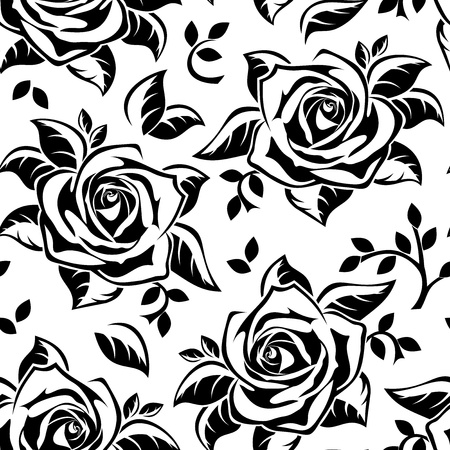 outline flower: Seamless pattern with black silhouettes of roses.  illustration. Illustration