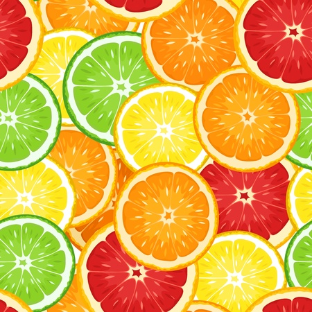 Seamless background with citrus fruits.  illustration. Stock Vector - 18298623
