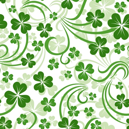 cloverleaf: St  Patrick s day vector seamless background with shamrock   Illustration