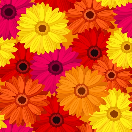 Seamless background with colored gerbera.  illustration. Stock Vector - 18298619