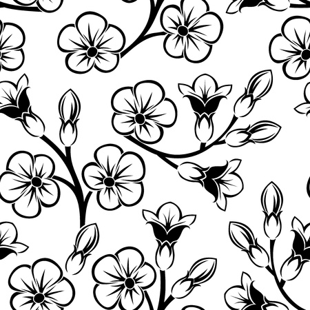 continuous: Seamless pattern with flowers.  illustration. Illustration