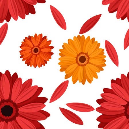 Seamless background with gerbera flowers.  illustration. Vector
