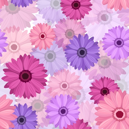 Seamless background with pink and purple gerbera. Stock Vector - 18298629