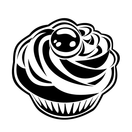 homemade cake: Black silhouette of cupcake.  illustration.  Illustration