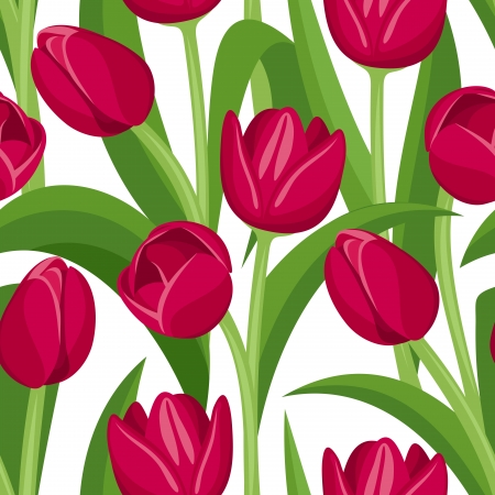 Seamless background with red tulips.  Vector