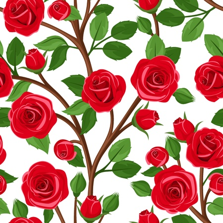 floral ornaments: Seamless background with branches of red roses. Vector illustration.