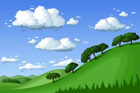 Summer landscape. Vector illustration. Stock Vector - 18296109