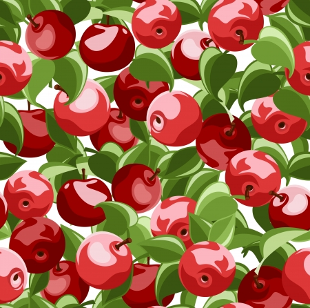 fruit illustration: Seamless background with red apples and leaves. Vector illustration.