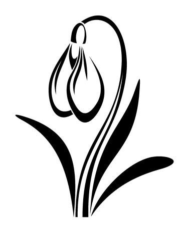 Zwarte silhouet van sneeuwklokje bloem. illustratie.