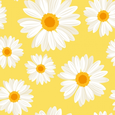 Seamless background with daisy flowers on yellow. Vector illustration. Illustration